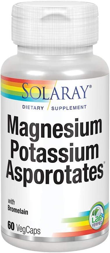 Solaray Magnesium and Potassium Asporotates w/Bromelain   Healthy Electrolyte, Muscle, Heart & Cellular Support   60 VegCaps