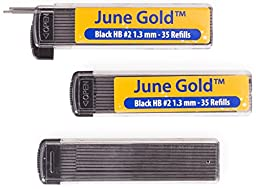 June Gold 105 Lead Refills, 1.3 mm HB #2, Medium Bold Thickness, Break Resistant Lead (Graphite) with Convenient Dispensers