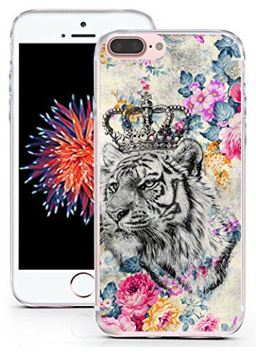 Case for iPhone 8 Plus Tiger Design - CCLOT Protective Cover Compatible for iPhone 8 Plus & 7 Plus Beautiful Cool Tiger Animal Flower Design (TPU Protective Silicone Bumper Skin)