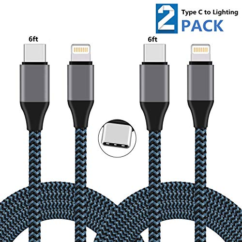 Sundix USB C to Lightning Cable 2Pack 6ft Nylon Braided Charging Syncing Cord Compatible with iPhone XS XR X 8 8 Plus 7 7 Plus 6 7s Plus SE Connect MacBook