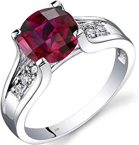 14K White Gold Created Ruby Diamond Cathedral Ring 2.50 Carat