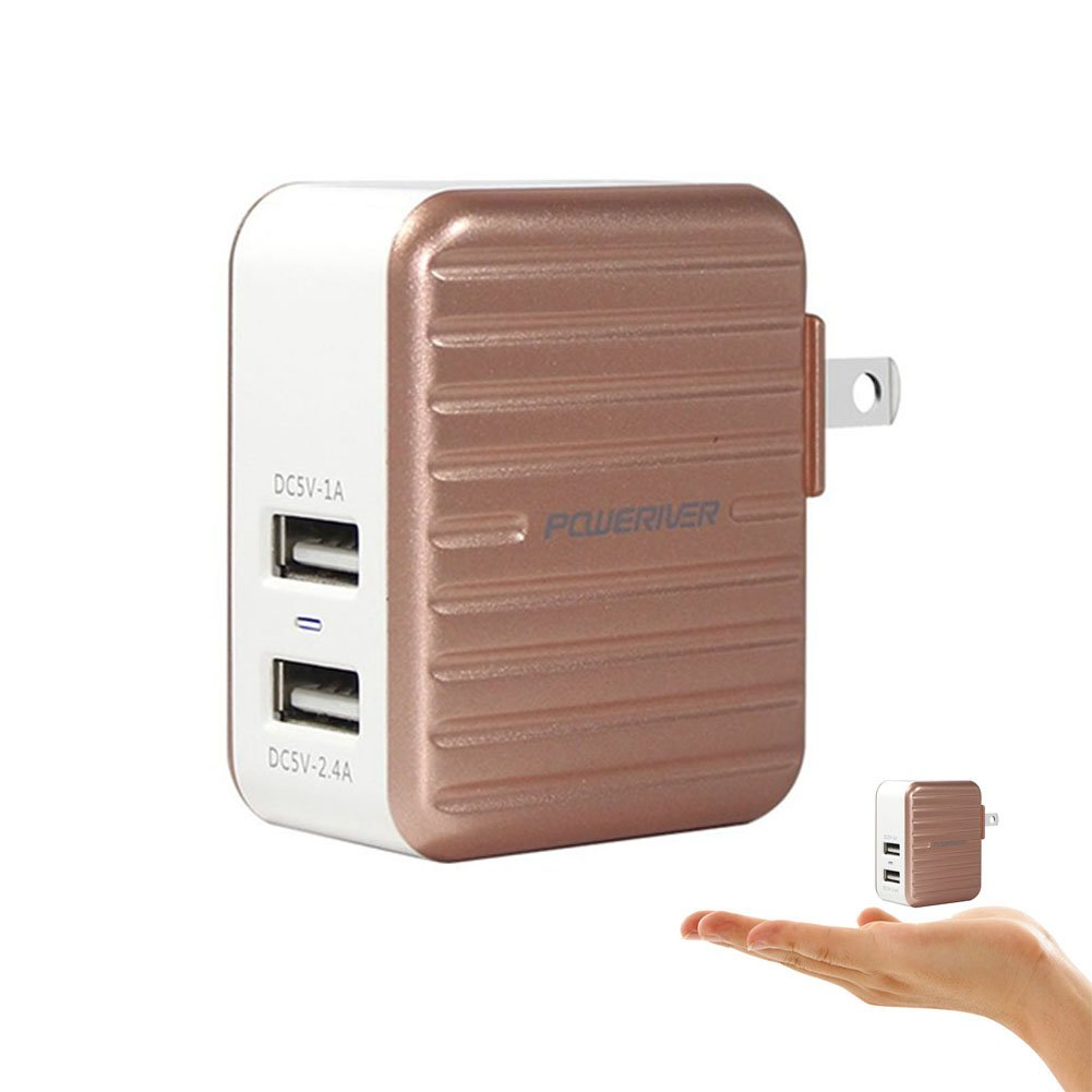 USB Wall Charger, POWERIVER Fast Charger Portable Charger Port USB Charger for iPhone x/8/7/6s/6 Plus, iPad, Samsung and More (2 Port)