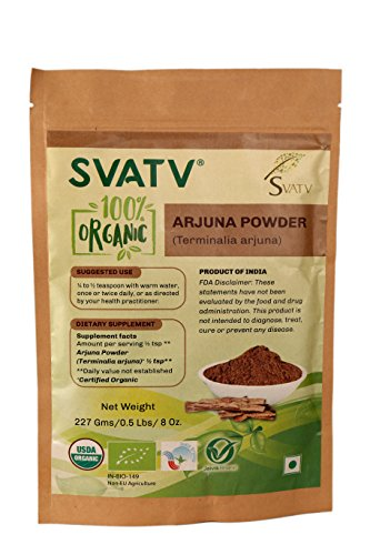 SVATV Organic Arjuna Bark Powder (Terminalia Arjuna) 1/2 LB, 08 oz, 227g USDA Certified Organic- Biodegradable Resealable Zip Lock Pouch Traditional rejuvenative and Tonic for The Heart*