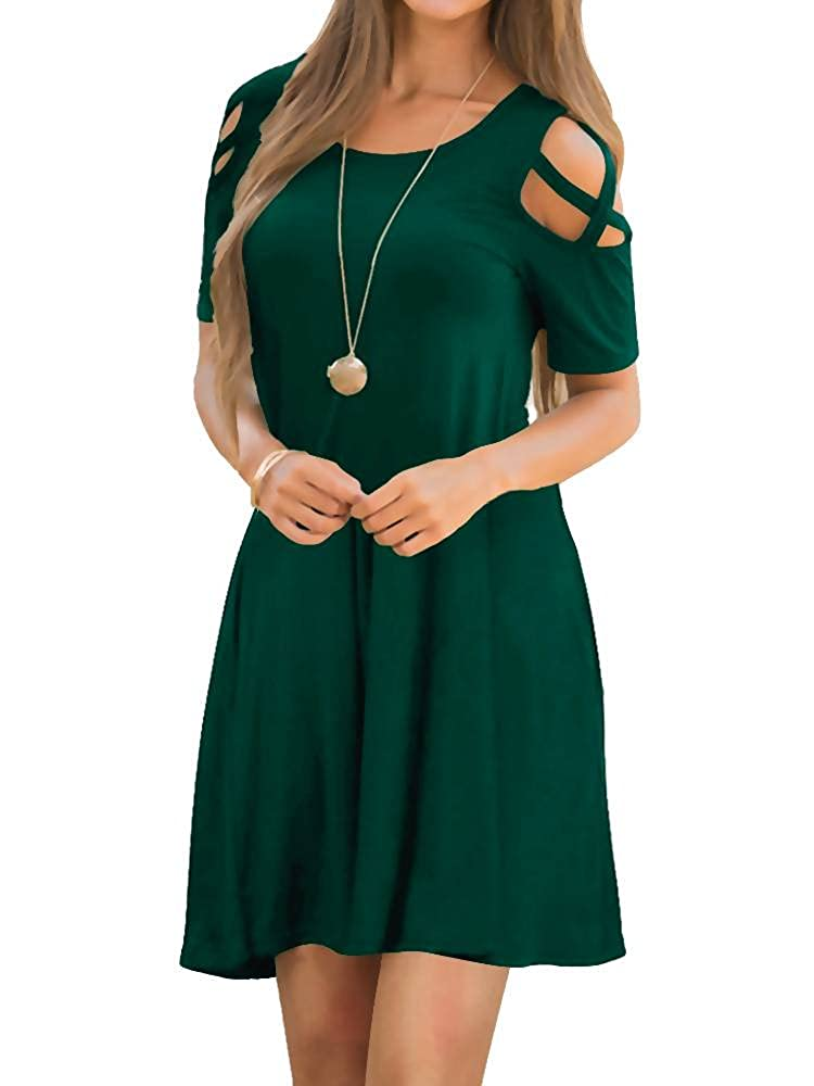 05blackish Green EZBELLE Women's Cold Shoulder Dresses with Pockets Loose Strappy T Shirt Swing Dress