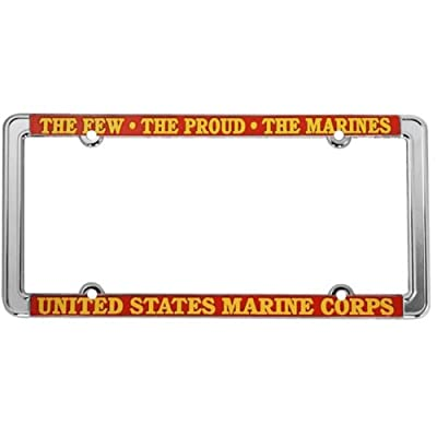 Honor Country U.S. Marines Thin Rim License Plate Frame (Chrome Metal): Automotive