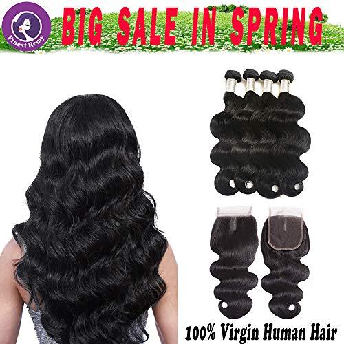 Finest Remy Brazilian Virgin Hair Body Wave Hair with Closure (14161820+12,Natural Black) Brazilian Hair Weaves 4 Bundles Virgin Human Hair with Lace Closure