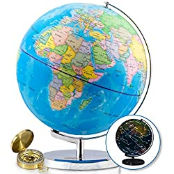 13 Inch World Globe & Compass by GetLifeBasics: See the Earth and the Stars in Details. Illuminated Constellation View Night, Kids Educational Astronomy Political Map