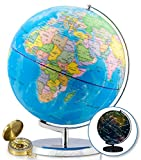 Illuminated World Globe & Compass by GetLifeBasics: See The Earth and The Stars