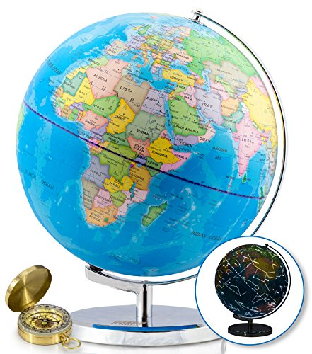 Illuminated Desk Globe - World Globe with Illuminated Constellations - 13