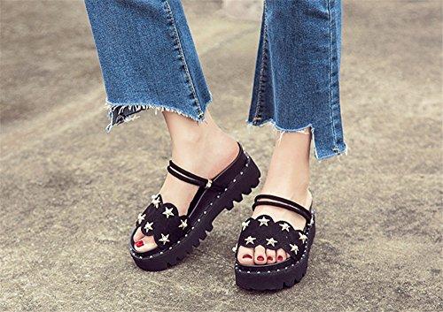Semelles À Épaisses Femme Sandales Chaussures Noir Mode Pantoufles Femmes Cuir Été Tmkoo 2018 Nouvelles Sauvages En xREqaw