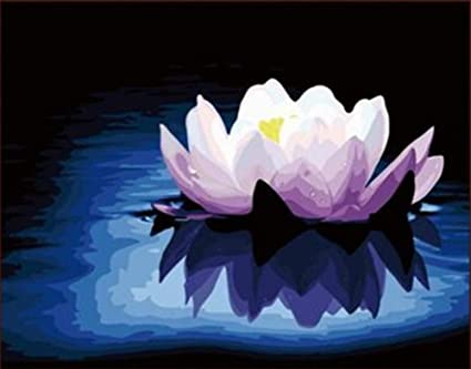 not paint by numbers for adult White Lotus Statue oil digital painting kid Diy Oil Kit Children Decor Decoration beginner canvas colour 16x20 inches frameless