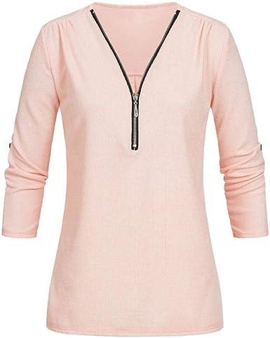 Camiseta para Mujer Camisa Casual Mujer Cuello En V Cremallera Color Sólido Tops Festivo Tops 2020 Ropa para Niñas (Color : Z-Rosa, One Size : L): Amazon.es: Ropa y accesorios