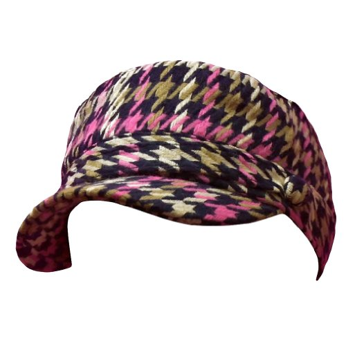 Luxury Divas Pink Tan & Navy Blue Houndstooth Plaid Cadet Cap Hat