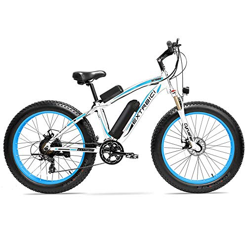 Cyrusher XF660 Electric Bike 48V 500W/1000W Mens Mountain Ebike 7 Speeds 26 inch Fat Tire Road Bicycle Snow Bike Pedals with Disc Brakes and Suspension Fork (Removable Lithium Battery)