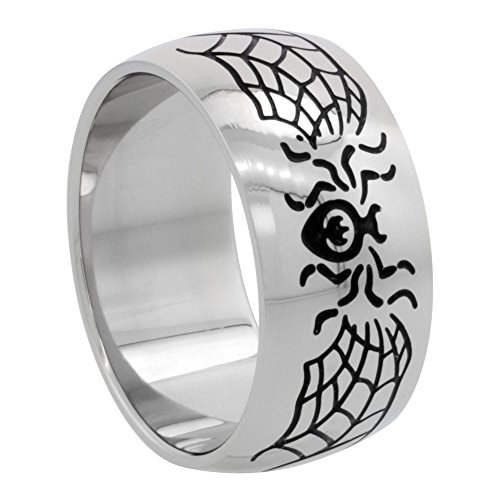 Surgical Stainless Steel 10mm Domed Spider & Web Wedding Band Ring, size 10 (Web Spider Ring Steel Surgical)