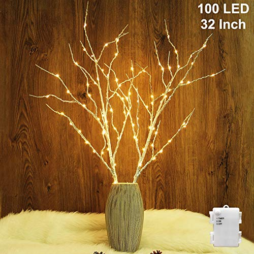 Twinkle Star 100 LED Lighted Silver Willow Branches 2 Pack Artificial Branches Waterproof Battery Operated with Timer for Indoor Outdoor Christmas Wedding Party Home Decoration (Vase Excluded) (Lighted Silver Branches)