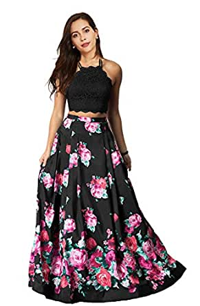 Lily Wedding Womens Floral 2 Piece Satin Prom Dresses 2019