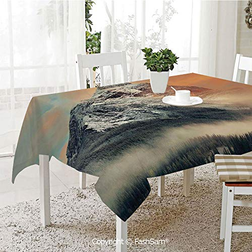 Party Decorations Tablecloth Snowy Mountain at Sunset Hazy