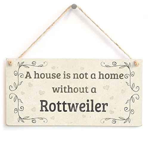 Meijiafei A House is Not A Home Without A Rottweiler - Handmade Rustic Country Home Style Wooden Dog Sign Plaque ()
