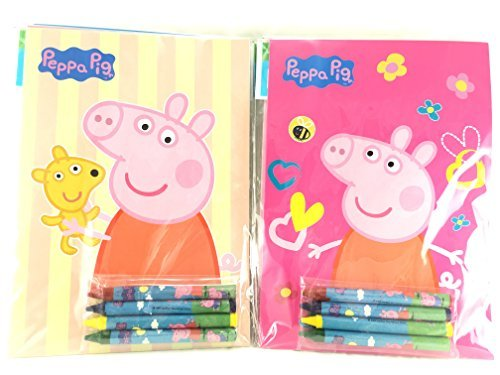 Party Favors Peppa Pig Coloring Book & Crayon Set 12 Pack ( Assorted Style) ()