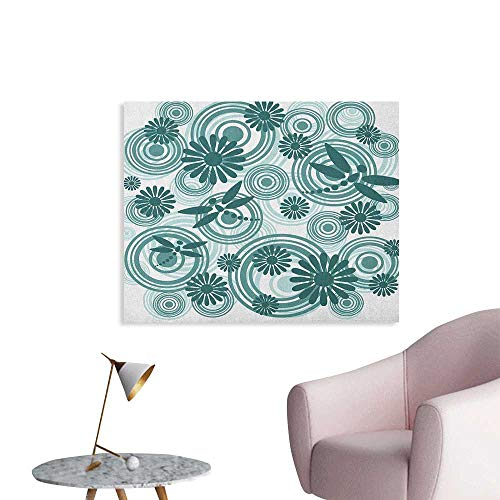 Anzhutwelve Dragonfly Photographic Wallpaper Abstract Circular Spiral Flowers Chamomile Daisy Figures Modern Print Poster Print Petrol Blue White W32 xL24