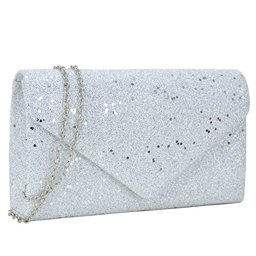 (Women Glistening Evening Clutch Bags Formal Party Clutches Wedding Purses Cocktail Prom Clutches White Silver Hardware)