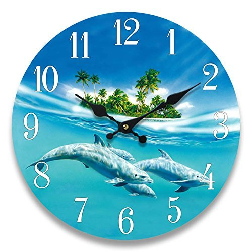 Dolphin Glass Wall Clock New 13