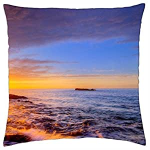 sunrise on sea shore - Throw Pillow Cover Case (18