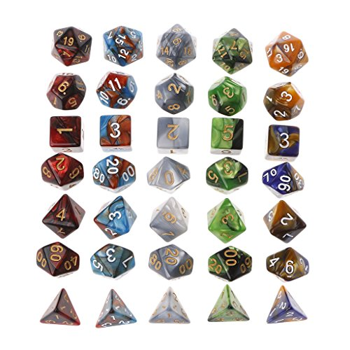Cicitop 35Pcs Acrylic Polyhedral Game Dices With a Cloth Bag, Lightweight and Portable, Perfect for TRPG Board Game, Dungeons And Dragons, Club and Bar Drinking Playing Game Tool, Math Teaching. by Cicitop