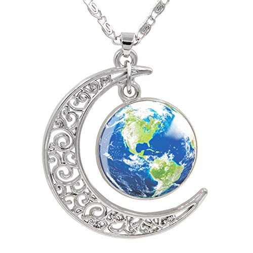 FANSING Womens Marvelous Necklace, Earth Pendant Necklaces, Universe Planet Jewelry, 18