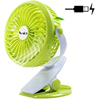 Yoosion Clip on Fan, Mini USB Table Desktop Personal Fan Rechargeable Clip-on 4 Blades for Home Office Baby Study Green