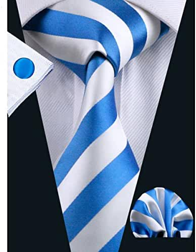 Hi-Tie Mens Classic Stripe Tie Set for Men Silk Woven
