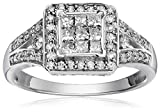 10k White Gold Diamond Engagement Ring (3/4 cttw, I-J Color, I2-I3 Clarity), Size 7