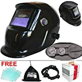 Leopard {Black} Replaceable Battery & Solar Powered Auto Darkening Grinding Wide Shade Range DIN9-13 Welding Helmet Welders Mask