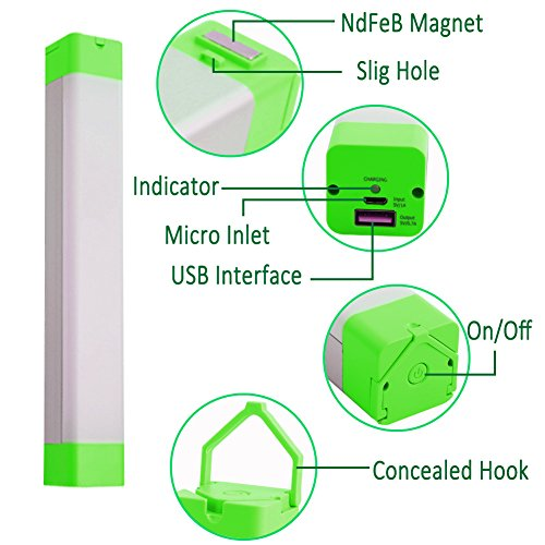 XINBAOHONG Portable LED Camping Light Stick, Emergency Magnetic Work Lamp Lantern, Rechargeable Handy Light for Home Lighting, Outdoor Night Fishing, Hiking,Biking(Green) by XINBAOHONG (Image #1)