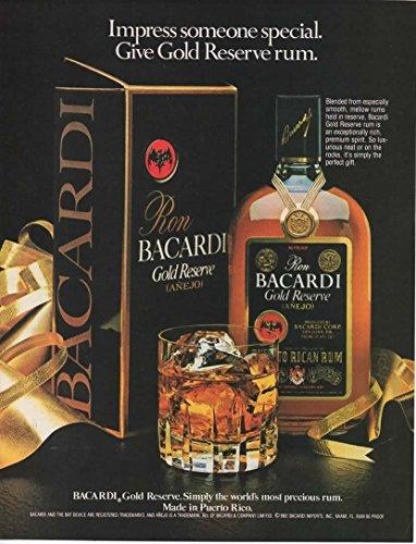 Magazine Print Ad: 1982 Bacardi Gold Reserve Rum, On the Rocks,