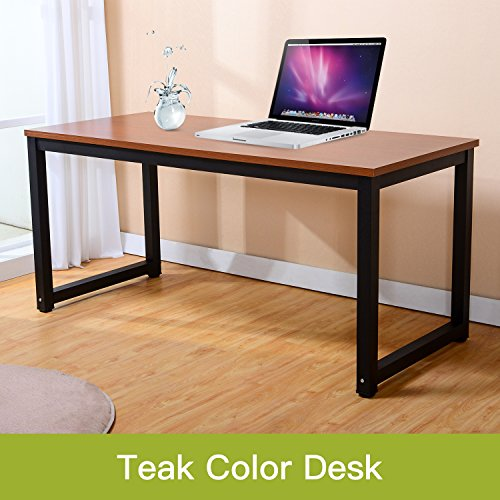 47'' Modern Computer Desk Simple Style PC Laptop Sturdy Table Study Office Training Meeting Desk Workstation for Home Office, Teak + Black Leg by juweixin