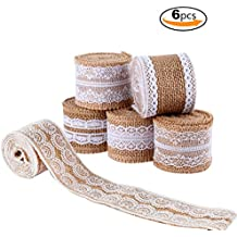 LEOBRO 6Pcs Natural Burlap Lace Craft Ribbon Roll , 12 Yards DIY Handmade Crafts Lace Wedding Favor Decoration Shipping by FBA