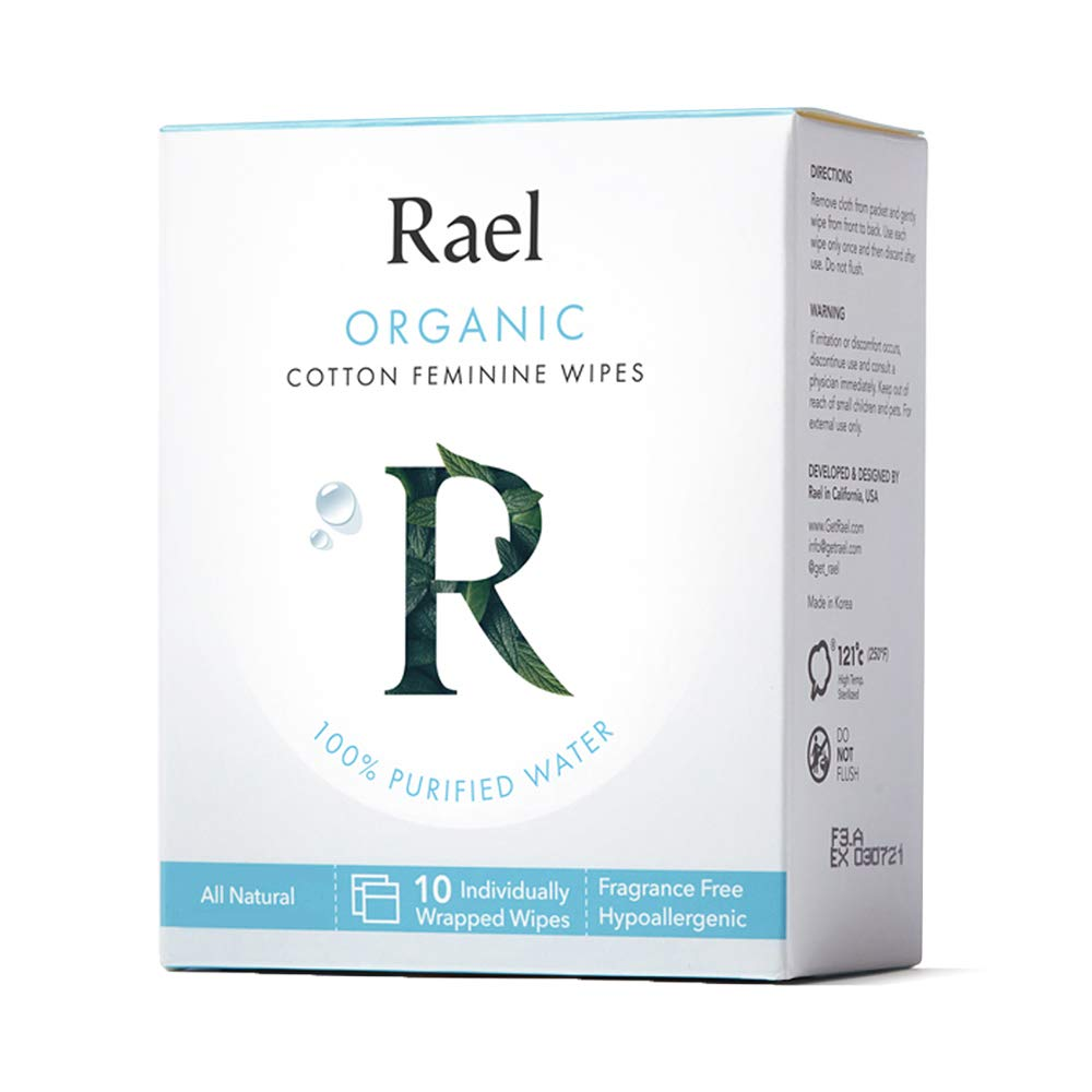 Rael Organic Cotton Feminine Wipes - 100% Purified Water, OCS Certified Organic Cotton, Ideal for Sensitive Skin, Individually Wrapped, (10 Count)