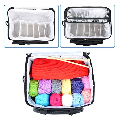 """Hoshin Knitting Bag for Yarn Storage, High Capacity Yarn Totes Organizer with Inner Divider Portable for Carrying Project, Knitting Needles(up to 14""""), Crochet Hooks, Skeins of Yarn (Black) by Hoshin (Image #4)"""
