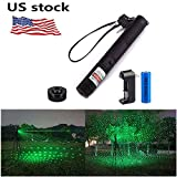 Verkioa Tactical Green Hunting Rifle Scope Sight Laser Pen, Demo Remote Pen Pointer Projector Travel Outdoor Flashlight, LED Interactive Baton Funny Laser Toy