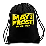 May The Frost With You Frost Nebraska 2018 Black Cotton Handcraft Sport Drawstring Backpack