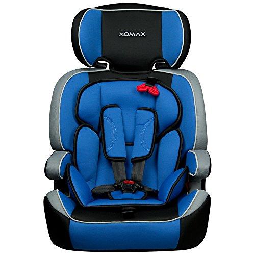 XOMAX XM-K4 BLUE Autokindersitz + Gruppe I / II / III (9 - 36 kg) + ECE R44/04 geprüft + Farbe: Blau, Schwarz, Grau + mitwachsend + 5-Punkte-Sicherheitsgurt + Kopfstütze verstellbar + Rückenlehne abnehmbar / Bezüge abnehmbar & waschbar