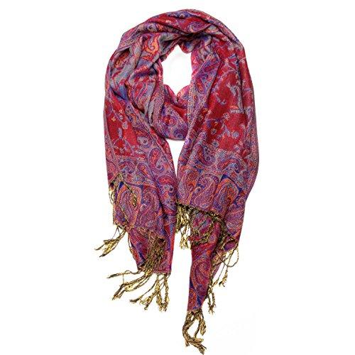 Paskmlna Reversible Paisley Pashmina Shawl Wrap Elegant Colors (#11Red/blue) by Paskmlna®