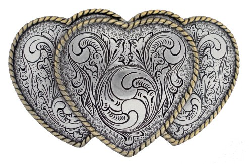 Antique Gold and Silver Finish Triple Hearts Ladies' Cowgirl Belt Buckle