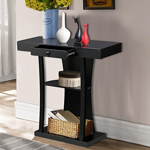 Topeakmart Black 3 Tier Console Table Entryway Table w/Centre Drawer Open Shelves For Sale
