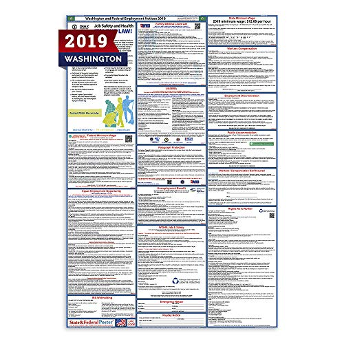 (2019 Washington Labor Law Posters (Laminated) All-in-One State and Federal Approved, OSHA Compliant Vertical 27