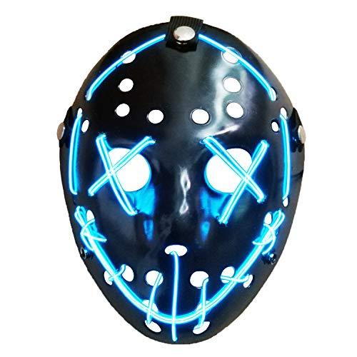 AUHOO Light up Purge Mask LED Jason Mask Halloween Scary Mask Rave Halloween -