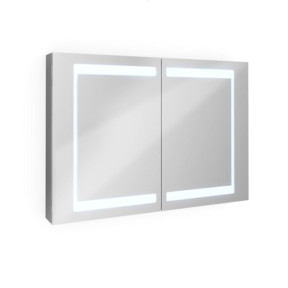 Badezimmer Spiegelschrank Aluminium Bad Schrank LED Steckdose Spiegel Innen  100 Cm: Amazon.de: Baumarkt