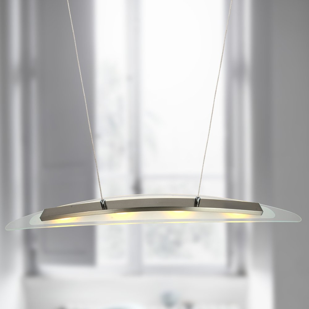 MINGZE Modern LED Pendant Lighting, 4-Light Stylish LED Ceiling Chandelier Light, Adjustable Hanging Lamp, Metal Glass 3000K Warm Light for Kitchen Island Dining Room, Restaurant (SB009B)
